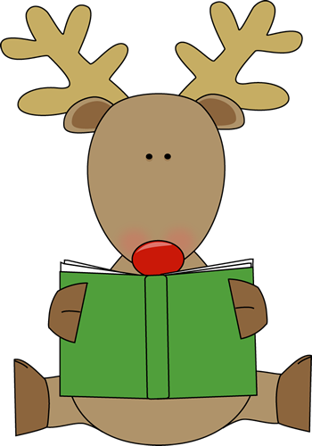 Book Clip Art   Reindeer Sitting Down And Reading A Green Book