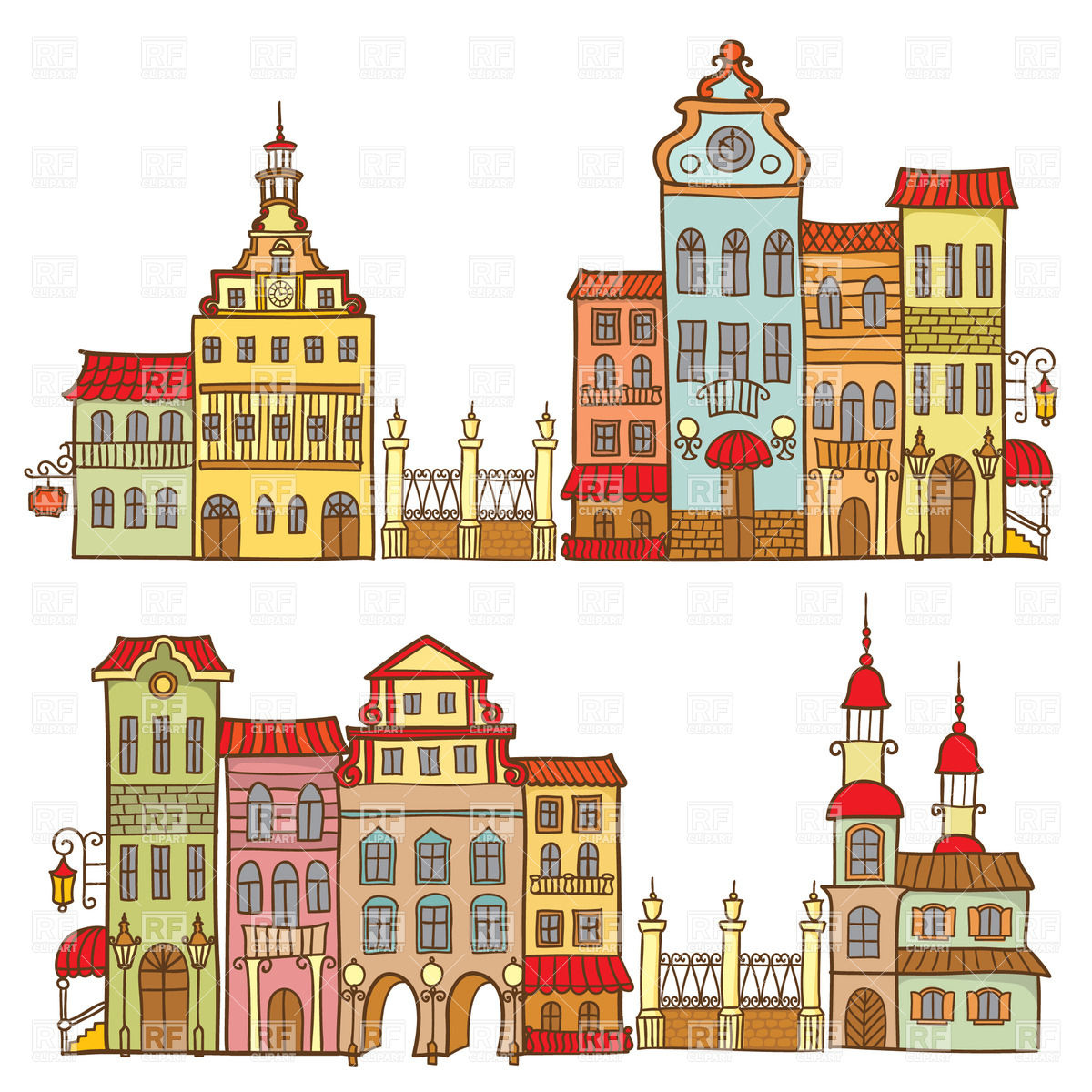 Cartoon City Templates With Colorful Houses Download Royalty Free