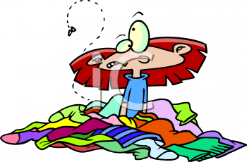 Cartoon Of A Girl Sitting In A Pile Of Dirty Clothes Clipart Image Jpg