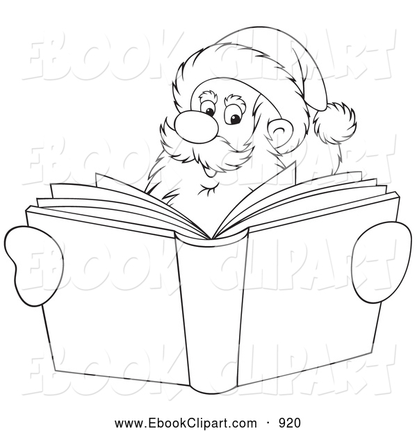 Clip Art Of A Coloring Page Outlined Santa Smiling Over A Christmas