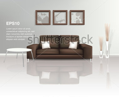 File Browse   Interiors   Modern Living Space With Brown Sofa  Eps10