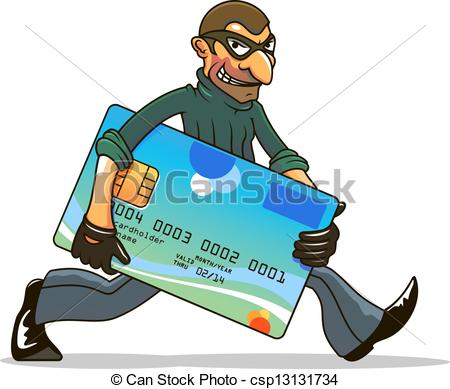 Hacker Or Thief Stealing Credit Card For Internet Security And Banking