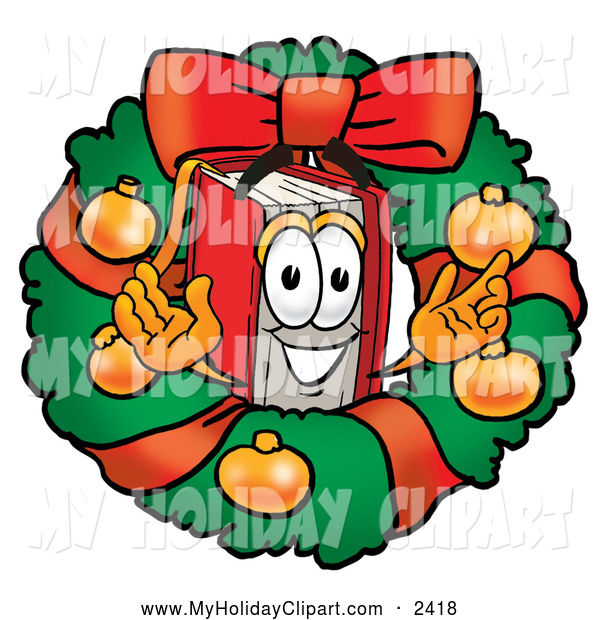 Happy Book In A Christmas Wreath Holiday Clip Art Toons4biz