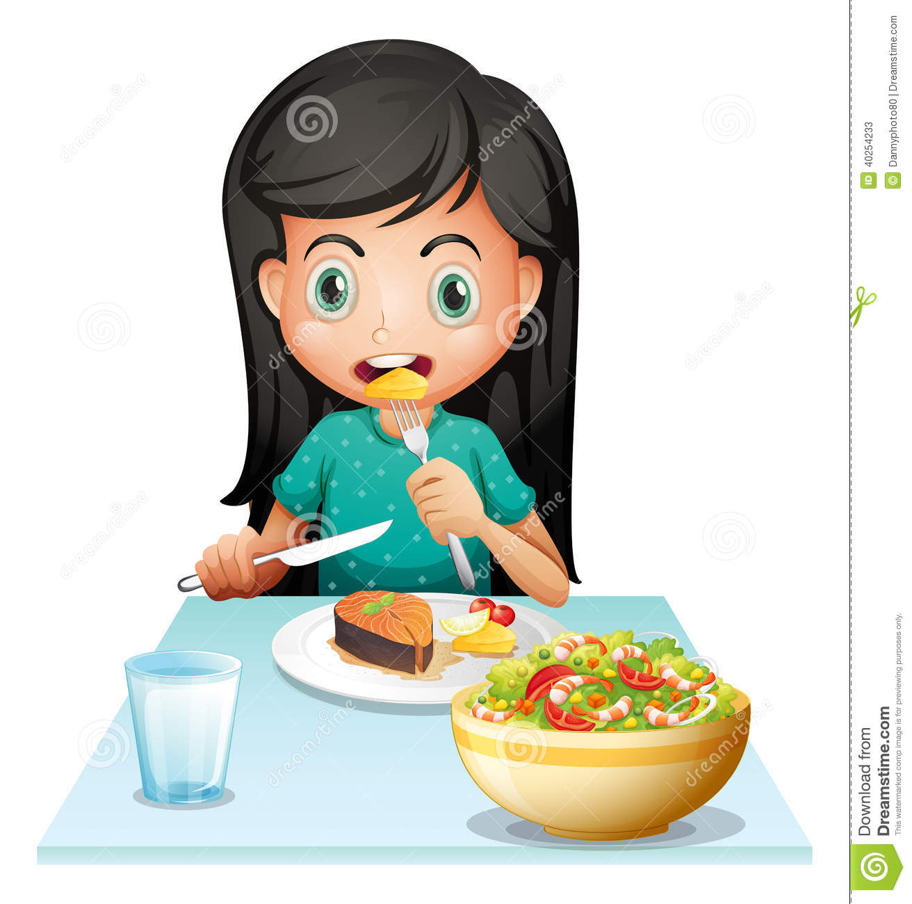 Illustration Of A Girl Eating Her Lunch On A White Background