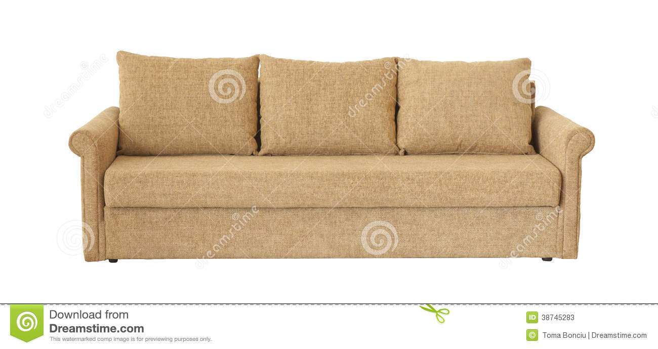 Light Brown Sofa Isolated On White Stock Photos   Image  38745283