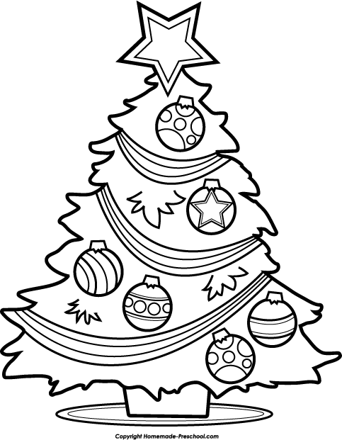 Simple Black And White Christmas Clipart Kid