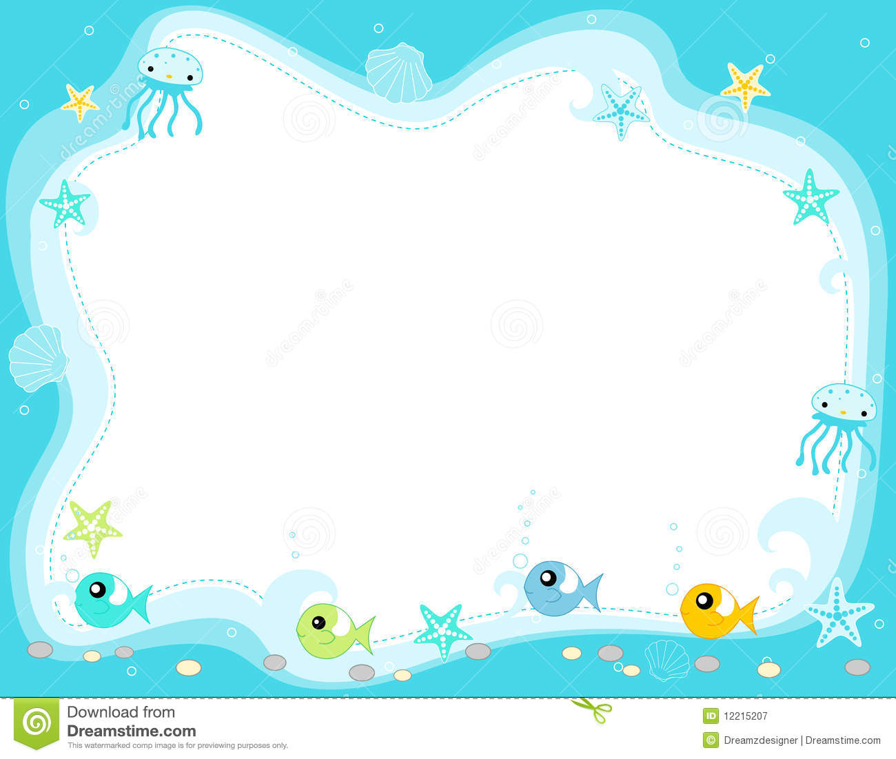 Sea border clipart clipart suggest for Fish photo frame