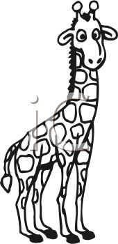 Picture Of An Outline Of A Baby Giraffe Calf In A Vector Clip Art