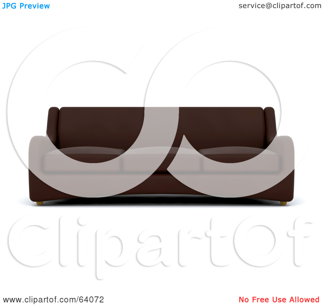 Royalty Free  Rf  Clipart Illustration Of A 3d Brown Sofa Couch On A