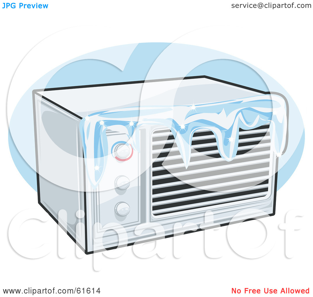 Royalty Free  Rf  Clipart Illustration Of An Iced Over Air Conditioner