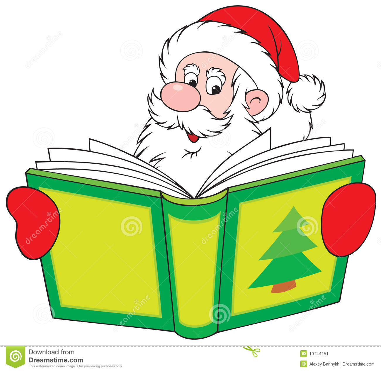 Santa Claus Reading The Book Stock Image   Image  10744151
