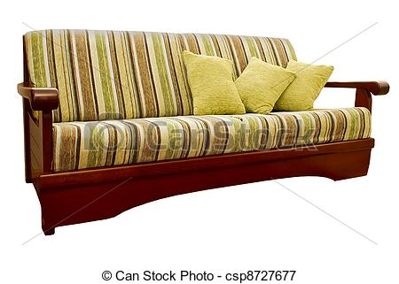 Striped Green And Brown Sofa With Fabric Upholstery Isolated On White