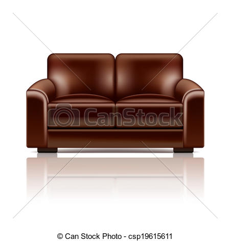 Vector   Brown Leather Sofa Vector Illustration   Stock Illustration