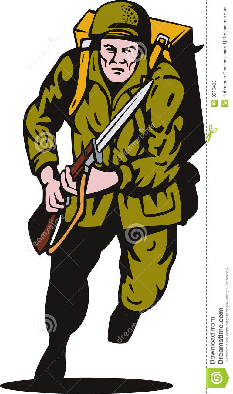 Vector Illustration Of A World War Ii Soldier Attacking With Bayonet