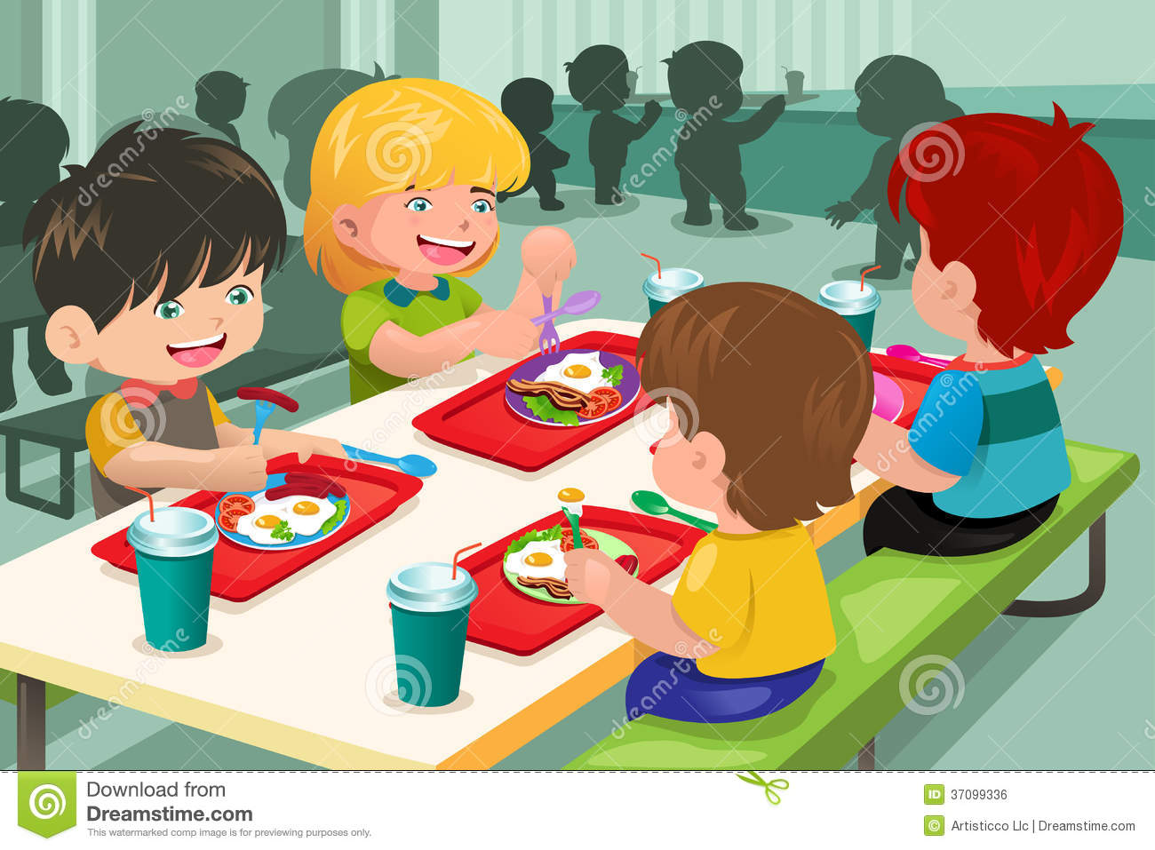 Vector Illustration Of Elementary Students Eating Lunch In Cafeteria