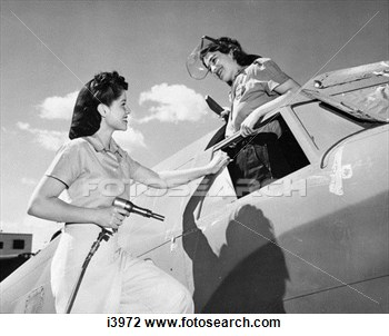 1940 1940s Two Women Wartime Workers Assemble Vega Aircraft Rosie View