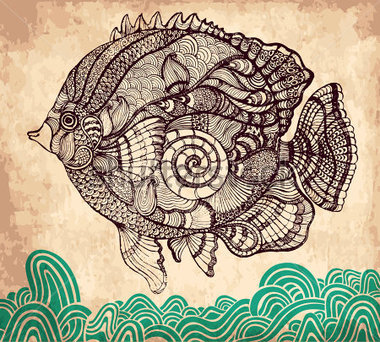 Animals   Wildlife   Decorative Hand Drawn Fish On Vintage Background