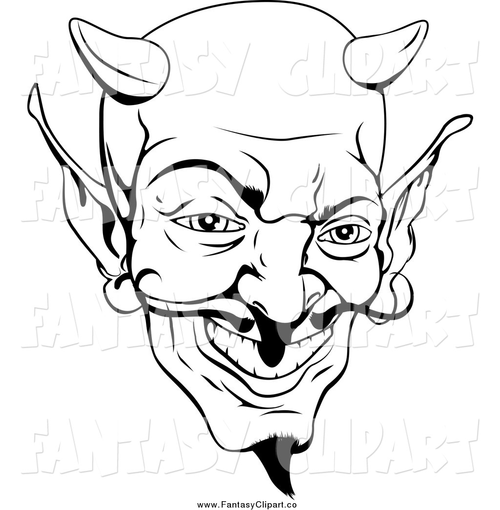 Art Of A Black And White Grinning Devil Face By Geo Images    2650