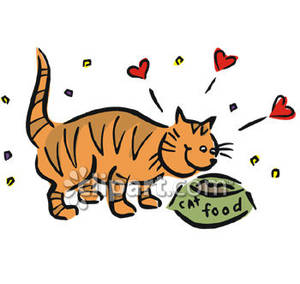 Cat Eating Cat Food   Royalty Free Clipart Picture