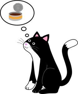 Cat Food Clipart Image   Kitty Cat Thinking About Canned Cat Food For