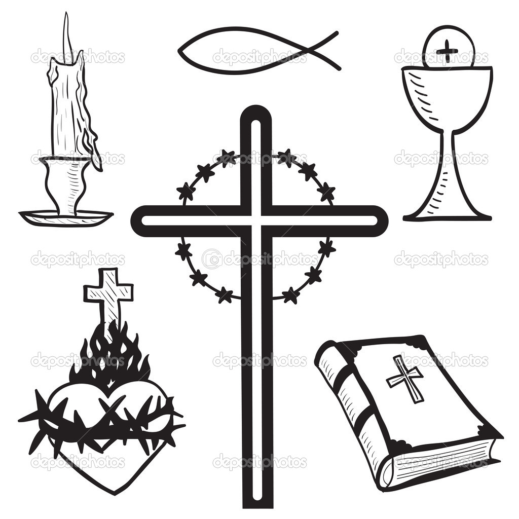 Christian Hand Drawn Symbols Illustration   Stock Vector   Kytalpa