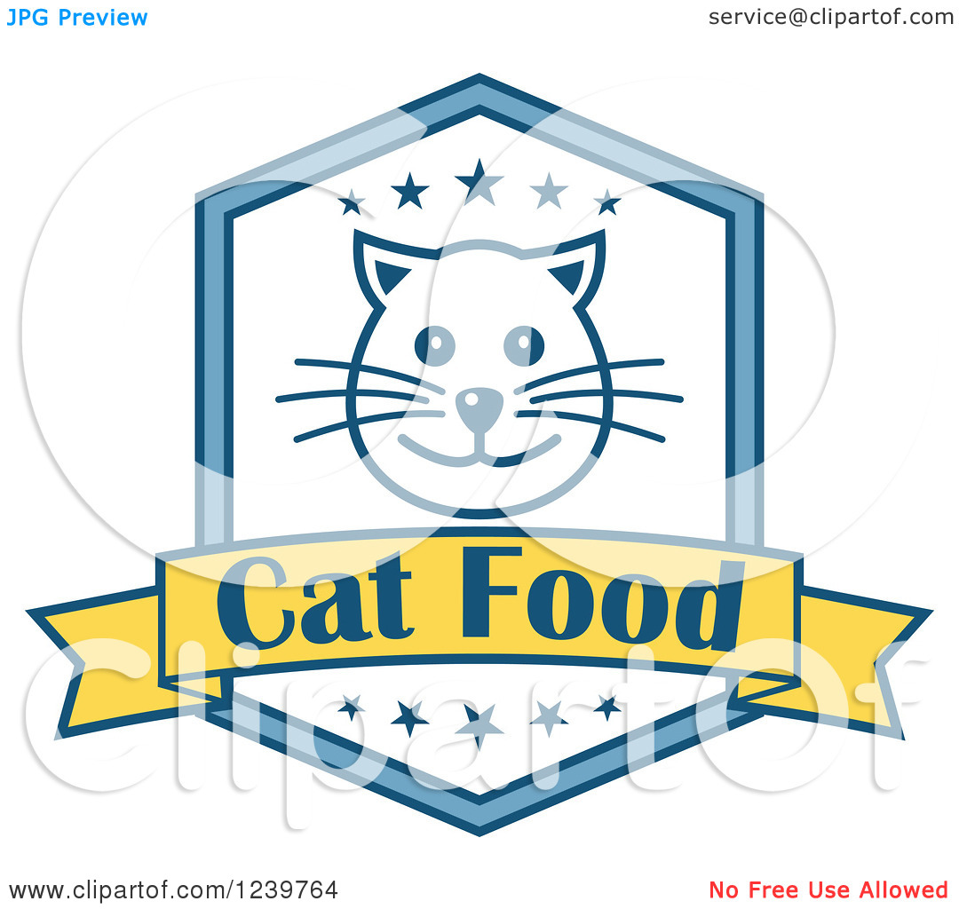 Clipart Of A Cat Food Shield Label   Royalty Free Vector Illustration