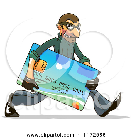 Clipart Of A Hacker Identity Thief Carrying A Credit Card   Royalty
