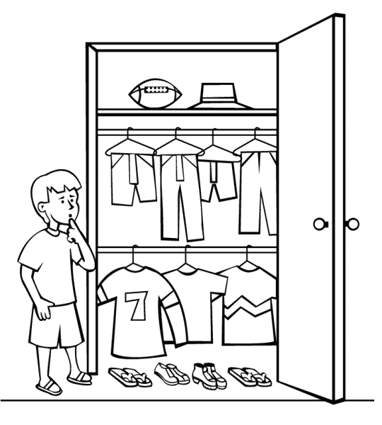 Closet Clothes Decide   Http   Www Wpclipart Com Education Coloring