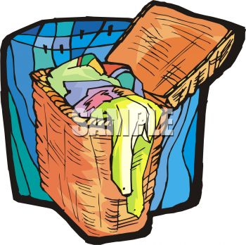 Clothes In Hamper Clipart