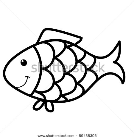 Cute Fish Cartoon Line Art Coloring Stock Vector Illustration