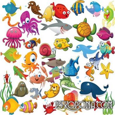 Drawn Kids Clipart   Fish Sharks Octopuses And Other Marine Life