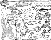 Fish Digital Stamp Nautical Clipart Hand Drawn Doodles   Photoshop