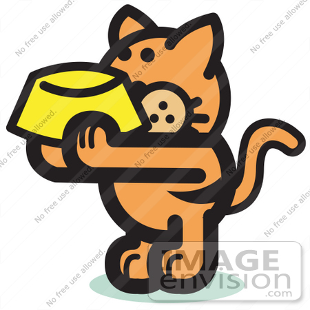 Free Cartoon Clip Art Of A Hungry Orange Cat Holding Up A Yellow Food