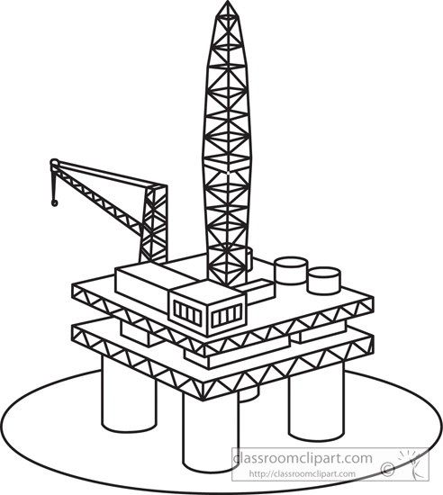 General   Oil Rig In Ocean 1029 Outline   Classroom Clipart