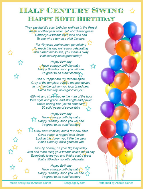Happy 50th Birthday Song For A Man   Original Birthday Song From Song