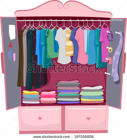 Illustration Of A Pink Wardrobe Full Of Women S Clothes   Stock Vector