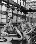 Of 1940s Women Wartime Factory Workers Polishing Airplane Nose Cones