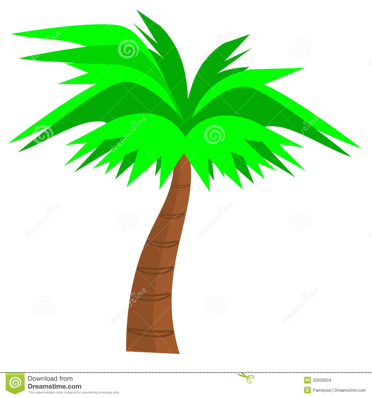 Stock Images  Palmtree Clipart Illustration Palm Tree Curved Trunk