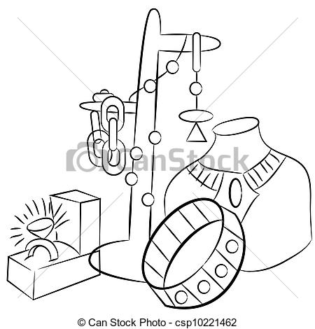 Vector   Collectible Antiques Jewelry Drawing   Stock Illustration