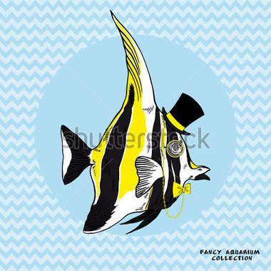 Vector Hand Drawn Illustration Of Fashion Fancy Reef Fish Isolated On