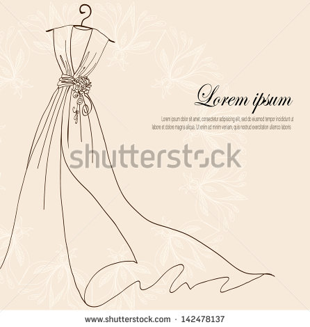 With Wedding Dress On A Hanger On Vintage Background   Stock Vector