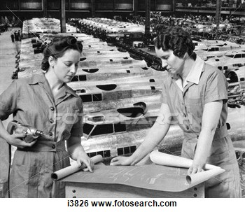 Women Workers Blueprints Factory 1940 1940s Rosie Riveter Woman View