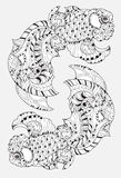 Zentangle Stylized Floral China Fish Doodle  Stock Photography