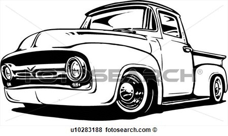 Classic 1956 Ford Pickup Truck View Large Clip Art Graphic