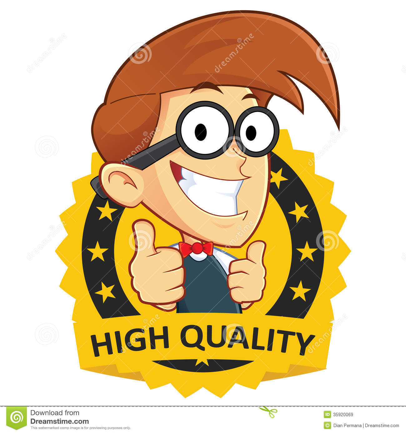 Clipart Picture Of A Nerd Geek Cartoon Character With Guarantee Icon