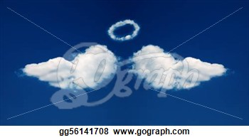 Drawing   Angel Wings And Nimbus Formed From Clouds   Clipart Drawing
