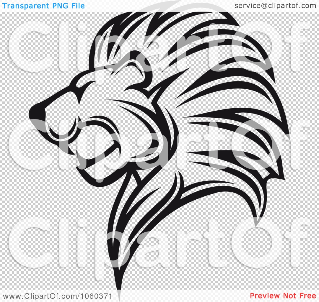 Illustration Of A Black And White Lion Logo   4 By Seamartini Graphics