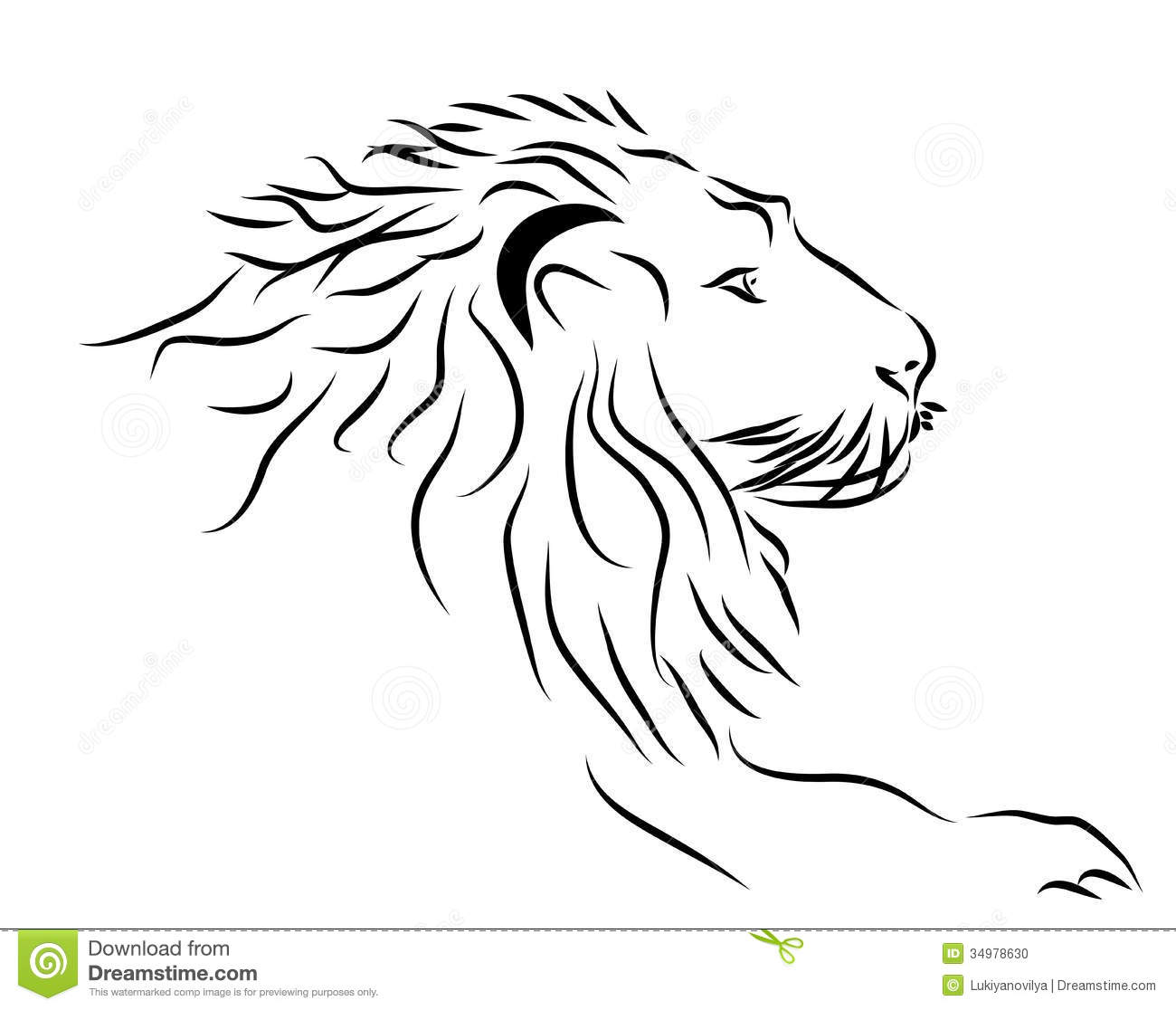 Lion Head Logo In Black And White  Stock Photo   Image  34978630