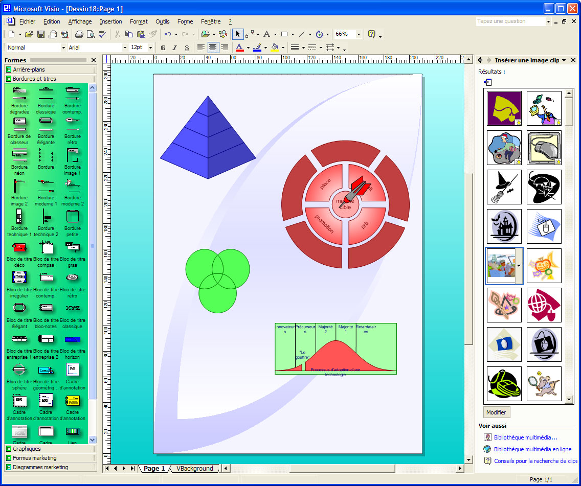 Microsoft Visio 2002 And Its Office Task Pane With Clipart Gallery