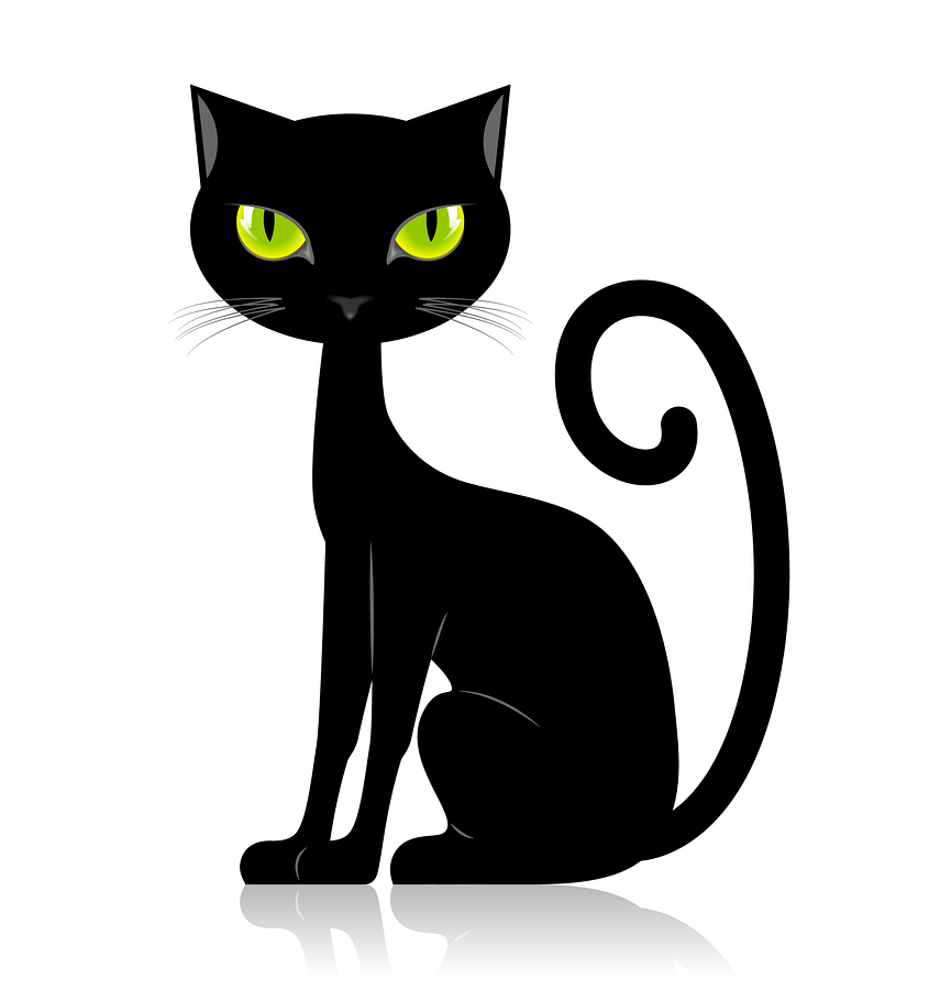 Картинки чёрной кошки рисованные